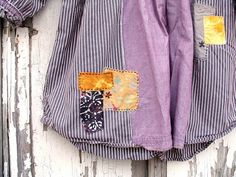 dusty purple violet lavender and grey pinstripe tunic blouse, hand embroidered, artsy boho ooak upcycled clothing, peasant prairie