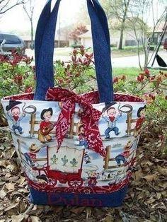 Cowpokes Cowboy Western Fabric Diaper Tote Bag by FancyFaceBags, $49.95