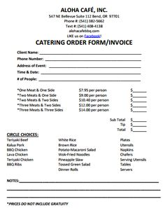 catering invoice template 9 | catering invoice templates, Invoice templates