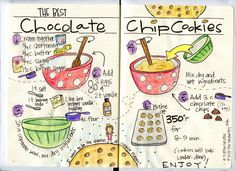 This is my all time favorite chocolate chip cookie recipe. I decided to illustrate it on these pages of my Bullet Journal.