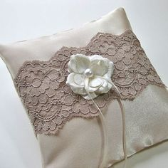 Ring Bearer Pillow in Mocha Latte Satin and Lace by DibeauBridal, $32.00