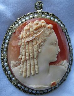 Marie Antoinette Cameo. Cornelian shell with seed pearls, sterling. Circa 1840/1850, Italy.