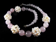 Necklace Rose Quartz Pearl Cluster 14k Accent Beads and Findings Vintage Ross Simons