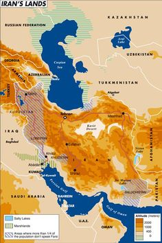 gazetaoriental:  HEARTLAND #MAPS A geo-morphological outlook of Iran, that highlights the areas where Farsi language is mainly spoken.
