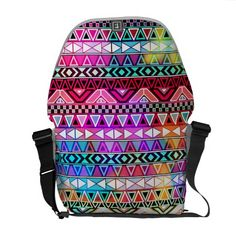 Pink Purple Bright Andes Abstract Aztec Pattern Messenger Bag
