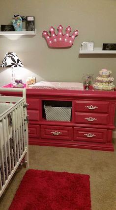 Hot pink changing table!