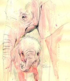 I'm not whether the painting is a water-colour, but this kind scene with #elephants is really touching. Thanks to #LoraZombie.
