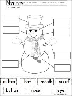 This is a free snowman labeling cut and paste activity on Madebyteachers.com.