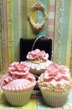 Tea:  Roses, ruffles, pearls, and lace cupcakes for tea time.