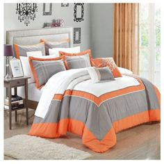 Chic Home Ballroom Orange, Grey & White 11 Piece Comforter Bed In A... ($110) ❤ liked on Polyvore featuring home, bed & bath, bedding, orange, white bedding, king size pillow cases, king size bedding, gray queen bedding and queen fitted sheet