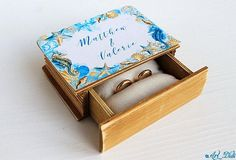 Wedding Ring Box, Wedding Boxes, Personalised Box, Personalized Wedding, Nautical Wedding, Rustic Wedding, Ring Bearer Box, Engraved Rings, Blue Rings