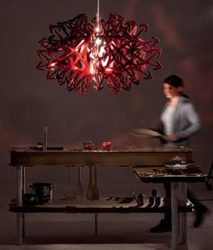 """""""Devil"""" modern red ceiling pendant is made from shatterproof plastic called Cristalflex, by the Italian manufacturer, Slamp. Over a metre wide """"Devil"""" at: http://www.italian-lighting-centre.co.uk/acrylics-plastics/devil-steelflex-ceiling-pendant-nigel-coates-p-8127.html#.VQbhLOHeJL8"""