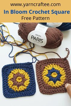 Mini crochet square motif that can be used for a variety of crochet projects. Made with Drops Paris yarn Square Patterns, Crochet Projects, Free Pattern, Crochet Hats, Bloom, Paris, Mini, Knitting Hats, Montmartre Paris