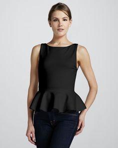 Sleeveless Ponte Peplum Top, Black by Alice + Olivia at Neiman Marcus.