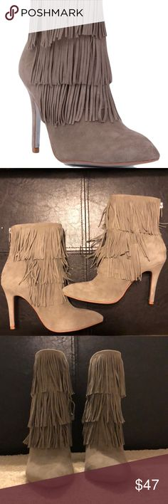 "Kristin Cavallari for Chinese Laundry Booties Kristin Cavallari for Chinese Laundry ""Charmed"" fringe booties, size 7.5. Gray suede booties are in brand new condition. Worn only a few times and never to drive so the heels are in perfect condition! Chinese Laundry Shoes Ankle Boots & Booties"