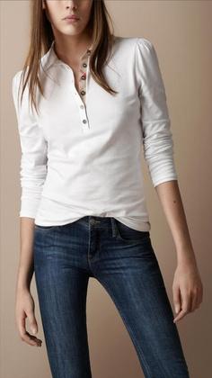 10eebb576fd6 Women s White Classic Long Sleeve Polo Shirt