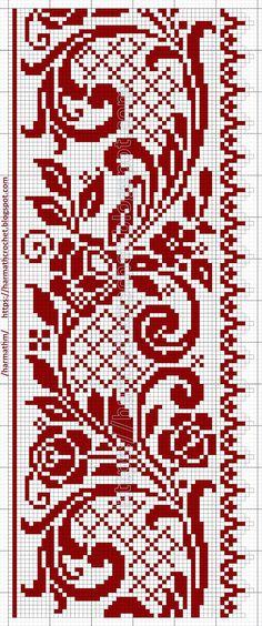 Crochet Patterns: Filet lace 218 Just Cross Stitch, Cross Stitch Borders, Cross Stitch Samplers, Modern Cross Stitch Patterns, Cross Stitch Designs, Cross Stitching, Cross Stitch Embroidery, Embroidery Patterns, Loom Patterns