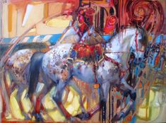 CIRCUS YEARS by Lesley Humphrey 18 x 24 oil on canvas Available:  Equis Art Gallery