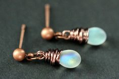 COPPER Earrings  Iridescent Frosted White by TheTeardropShop, $22.00