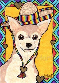 NFAC ORIGINAL ACEO Mexican Dog Chihuahua Hat Sombrero DEBBIE HART Rainbow Hearts #WhimsicalFolkArt