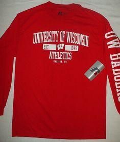 ecd4db02 UNIVERSITY WISCONSIN BADGERS Athletic NCAA College Long Sleeve T-shirt M  (38-40
