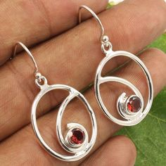925 Sterling Silver Jewelry Antique Collection Earrings Natural GARNET Gemstones #Unbranded #DropDangle