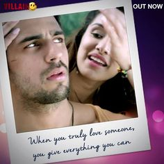 EK Villain Bollywood Movie Songs, Bollywood Quotes, Bollywood Couples, Ek Villain, Love Breakup, Cute Love Couple, Favorite Movie Quotes, Film Images, Love Thoughts