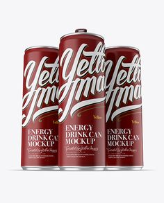 Three 250ml Aluminium Cans With Matte Finish Mockup – Hero Shot