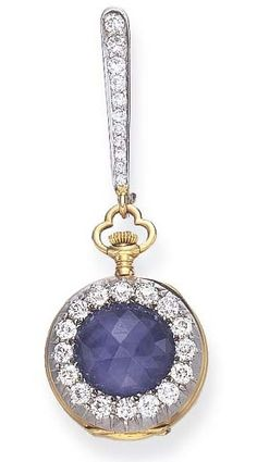 AN ANTIQUE SAPPHIRE AND DIAMOND LAPEL WATCH, BY TIFFANY & CO. Of nickel-finished lever-movement, the circular white dial with black Arabic numerals and rose-gold hands, within an 18k gold case, the reverse centring upon a rose-cut sapphire within an old European-cut diamond surround, suspended from a detachable old European-cut bar brooch, mounted in platinum and 18k gold, circa 1890, with Swiss assay mark and maker's mark. Dial and cuvette signed Tiffany & Co. #Tiffany #Antique #watch