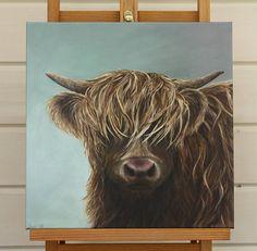 Hattie 12 x 12 canvas highland cow print