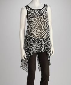 Take a look at this Zebra Chiffon Hi-Low Top by Cabana Classics: Women's Apparel on @zulily today!
