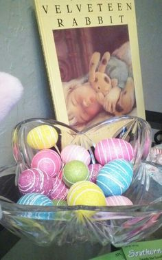Easter decorations simple ideas...  bunny book and pretty eggs.