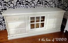Repurpose Idea~ (Tutorial- replace3 large uglydrawers in the middle of an old dresser with a vintage window turneddoor and cupboard space behind. (Would be a great buffet table too!)