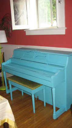 Turquoise piano!  I painted it yesterday and I love it - now to fix the bench!