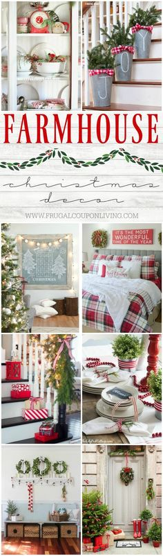Inspiring Farmhouse Christmas Decor on Frugal Coupon Living. Creative ideas for the Christmas season including rustic metals, distressed woods, and everything red and green.