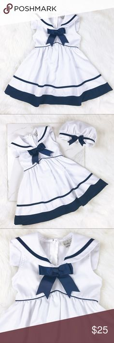 Rare Too 3T White Nautical Sleeveless Dress & Hat Rare Too  Size 3T  White / Navy Toddler Girls  Nautical  Sleeveless Dress with Matching Hat  There is a mark on the hat, as pictured. Rare, Too Dresses