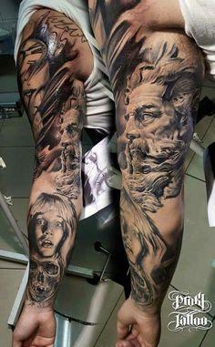 Tattoos News Pics Videos And Info Payasa Tattoo, Zeus Tattoo, Poseidon Tattoo, Statue Tattoo, God Tattoos, Great Tattoos, Forearm Tattoos, Future Tattoos, Body Art Tattoos