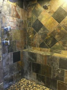 Slate tile shower: like the shelf running the full length of back wall