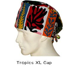 Nurses Surgical Scrub XL Cap Tropics 100% cotton made in the USA