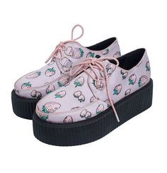 Cheap creeper backpack, Buy Quality shoes creepers directly from China creeper Suppliers: Women's Ladies HARAJUKU Pink Strawberry Print Creepers Shoes Spring New Fashion Brand Punk Flat Platform Lace-Up Mode Harajuku, Harajuku Japan, Women's Creepers, Creeper Sneakers, Creeper Shoes, Kawaii Shoes, Punk Shoes, Aesthetic Shoes, Mocassins