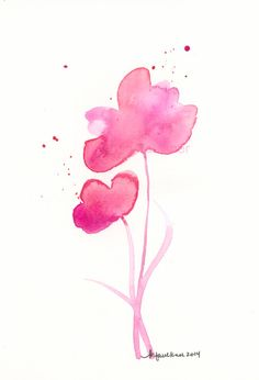 A Delightful Day original watercolor painting of salmon and orchid pink flowers by Karen Faulkner