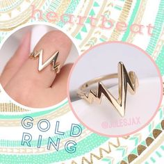 NEW gold heartbeat lifeline ring NEW gold heartbeat lifeline ring fits size 6-7 Jewelry Rings