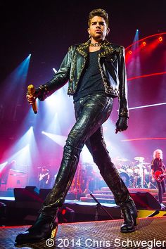 Queen with Adam Lambert performs on July 2014 during the North American Tour at the Palace Of Auburn Hills in Auburn Hills, Michigan - photos by Chris American Tours, American Idol, Queen Adam Lambert Tour, The Palace Of Auburn Hills, Leather Men, Leather Pants, Celebs, Celebrities, My Guy