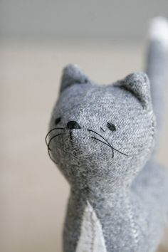 Grey kitty cat, soft sculpture animal by ohalbatross