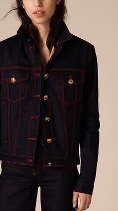 Deep indigo Military Detail Japanese Denim Jacket - Image 3