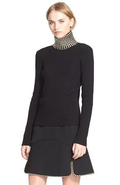 Alexander Wang Studded Turtleneck Silk & Cashmere Sweater