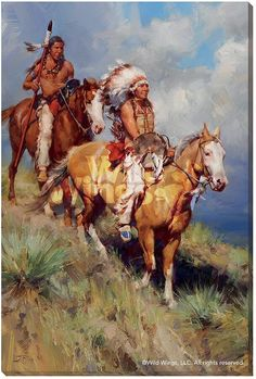 Return of Red Cloud Indians on Horses Wrapped Canvas Giclee Wall Art Native American Paintings, Native American Pictures, Indian Paintings, Native American Warrior, Native American History, Native Indian, Native Art, Sioux, Westerns