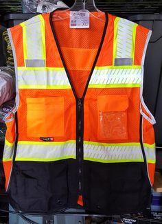 Majestic 75-3240 Hi Vis Orange Mesh Safety Vest with Black Bottom ANSI Class 2