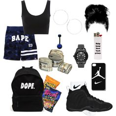worse than u know by bluemob on Polyvore featuring polyvore fashion style NIKE A BATHING APE adidas Originals Arizona Carolina Glamour Collection