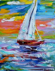 Original oil painting Sailing Sunrise abstract impressionism fine art impasto on canvas by Karen Tarlton Sailboat Art, Sailboat Painting, Sailboats, Modern Impressionism, Beach Art, Painting Techniques, Abstract Art, Abstract Portrait, Portrait Paintings